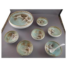 Gorgeous Nippon Flying Geese Swans Nut Berry Set Moriage Gilt Mark #47