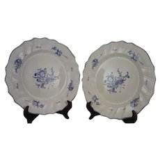 Pair of 18th Century Lille France Porcelain Plates signed Boussemart