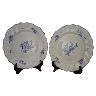 Pair of 18th Century Lille France Porcelain Plates signed Boussemart