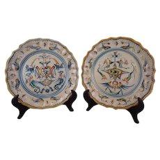Pair 18th Century Italian Majolica Plates