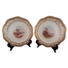 Set of 8 Wedgwood Hand-Painted & Gilt Edge Dinner Plates dated 1886