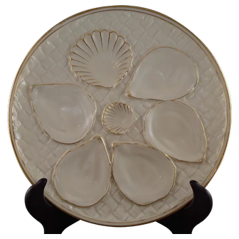 Set of Four (4) Royal Worcester Oyster Plates, 1897 Mark