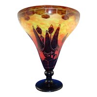 Charles Schneider Le Verre Francais Acid-Etched Vase, 'Campanules'