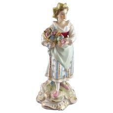 Antique 19th Century Dresden Carl Thieme Porcelain Figure - Peasant Woman