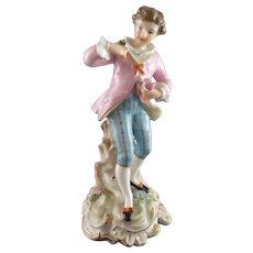 Antique 19th Century Dresden Carl Thieme Porcelain Figure - Courting Gentleman