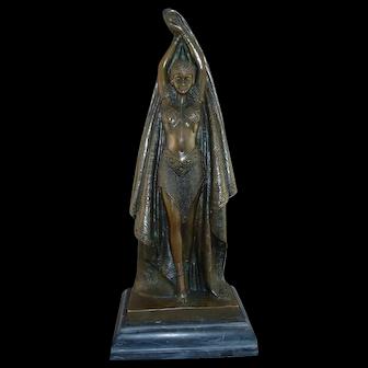 "Stunning Art Deco Bronze, ""Antinea"",  Signed Chiparus"