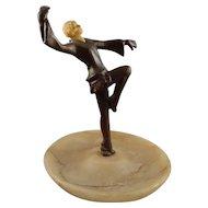 Art Deco Bronze Dancer on Onyx Agate Dresser Tray
