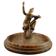 Art Deco Bronze Sailor Girl Mounted on Large Agate Base