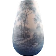 Delphin Massier Vallauris Landscape Vase, Artist Signed