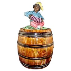 Black Americana Figural Majolica Humidor