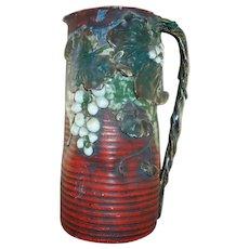 Large Japanese Sumida Gawa Tankard Vase, signed Ryosai