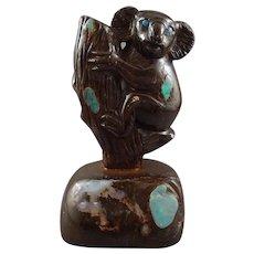Carved Australian Boulder Opal Koala, 1721 cts