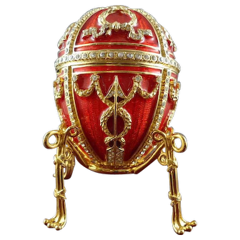 Tatiana Faberge Imperial Collection Rosebud Egg with Hidden Necklace
