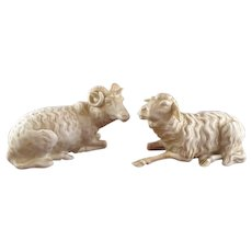Pair Nymphenburg Porcelain Figures Goat & Ram, circa 1880
