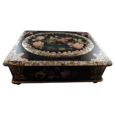 Vintage Papier Mache Sewing Jewelry Box with Velvet Interior
