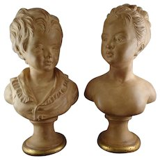 Pair Terra Cotta Busts Borghese Children Signed Houdon