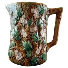 "George Jones Majolica ""Rustic"" Pitcher"