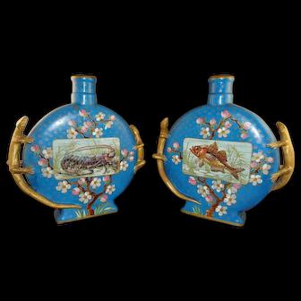 Pair 19th Century English Aesthetic Period Moon Flasks Vases