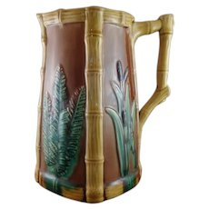 Bulrush, Bamboo, & Fern Majolica Pitcher dated May 21, 1878