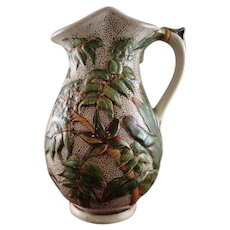 Staffordshire Majolica Pitcher by Liddle, Elliot & Son, circa 1865