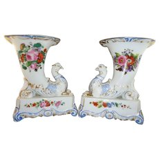 Beautiful Pair Jacob Petit French Painted Cornucopia Vases, Mid 19th Century