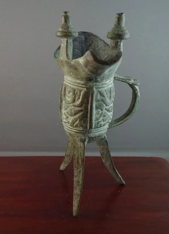 Vintage Chinese Bronze Libation Cup Jue with Archaic