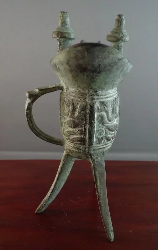 Translating Antique Asian Brass Cup Vessel Footed with