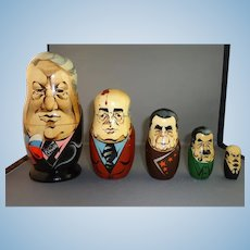 Russian Matryoshka Nesting Doll - Russian Premiers in Caricature