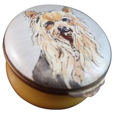 Vintage Crummles Enamel Box of a Yorkshire Terrier