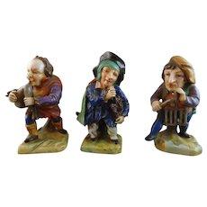 Set of 3 Hunchback Dwarf Dresden Porcelain Figures Playing Musical Instruments