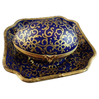 French Limoges Le Tallec Cobalt & Gold Porcelain Box and Underplate