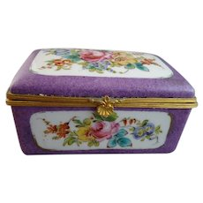 19th Century French Porcelain Dresser Box with Painted Floral Panels