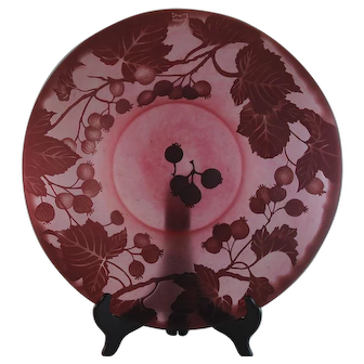 Beautiful Daum Nancy Cameo Rose Glass Centerpiece Bowl