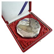 Beautiful Japanese 950 Silver TriTone Compact in Original Fitted Case
