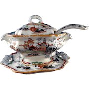 19th Century Mason's Ashworth Covered Tureen, Under Plate, & Ladle -Imari Pagoda Pattern