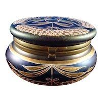 Large Moser Style Dresser Jar Box Cobalt Glass with Enamel Gilding