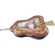 19th Century Continental Porcelain Enamel Painted Box, Crossed Swords Mark