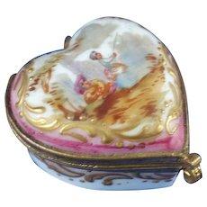 19th Century Continental Porcelain Enamel Pill Box, Crossed Swords Mark