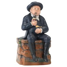 Bernard Bloch Majolica Humidor of a Seated Man With Pipe