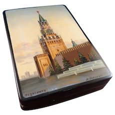 Fedoskino Signed Russian Lacquer Box Kremlin Spasskaya Tower