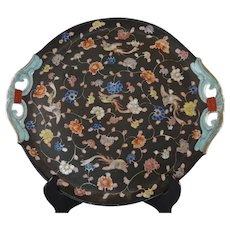 Large Meiji Period Fukagawa Imari Brown Ground Handled Plate Charger