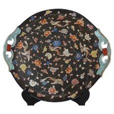 Large Meiji Period Fukagawa Imari Brown Ground Handled Plate Charger