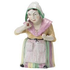 Female Snuff Taker Majolica Figural Humidor Tobacco Jar