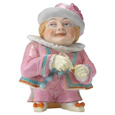 Large Conta Boehme Figural Humidor Tobacco Jar of a Snuff Taker in Pink