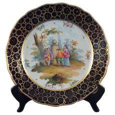 Meissen Cobalt and Gilt Bowl with 18th Century Scene