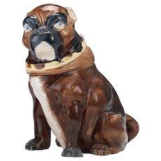 Bulldog Majolica Humidor Tobacco Jar