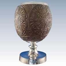 Stunning Georgian Sterling & Carved Coconut Cup with Good Samaritan Inscription