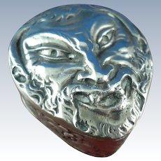 Continental Sterling Silver Demon Head Snuff Box Pill Box