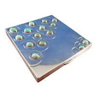 Art Deco Sterling, Gold, and Turquoise Powder Case by Berlioz Leroy