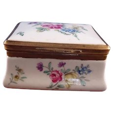 18th Century Tournay Belgium Hand-Painted Porcelain Box